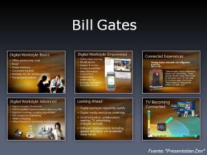 En estas transparencias utilizadas por Bill Gates podemos comprobar el exceso de ruido