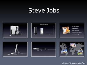 En estas transparencias utilizadas por Steve Jobs podemos comprobar cómo sólo se utiliza información relevante, eliminando lo superfluo