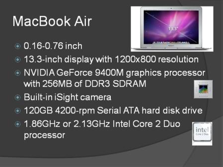 ¿Os imagináis a Steve Jobs presentando el Mac Book Air con esta transparencia?