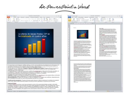 PowerPoint permite crear con un par de clics documentos en Word en los que se sitúa al principio de la página la imagen de cada transparencia, seguida del texto que hayas escrito en las notas